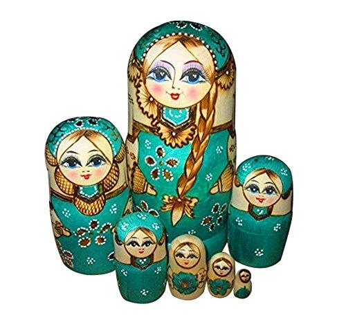 Cool Mall 7handgefertigt Holz Nesting Dolls Matroschka russische Puppe, grün