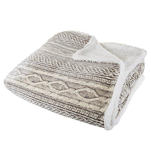 Lavish Home Flannel/Sherpa Blanket - Twin - Gray/Beige