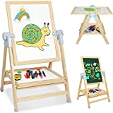 4 in 1 Kids Wooden Art Easel, Adjustable Magnetic Double-sided Whiteboard and Chalkboard, 360 Degree Rotating Drawing Easels with Art Accessories, Gift for Toddlers Children Boys Girls (Natural)