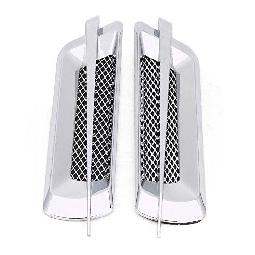 Flujo de aire lateral, 2 uds, Rejilla de entrada de flujo de aire lateral del coche, rejilla de ventilación, cubierta de orificio de red, pegatina decorativa Universal(Chapado en plata)
