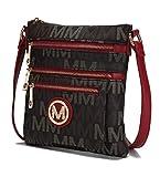 Mia K Collection Crossbody bag for women - Adjustable Strap - Vegan leather Crossover Designer messenger Purse Red