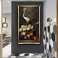 モダンピーコックアニマルキャンバスペインティングラッキーバードウォールアート写真ピーコックポスタープリントリビングルーム家の装飾壁画60x100cmフレームレス