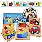 IMMEK Puzzles de Madera Juguetes para Bebes 1 Ao 2 3 4 5 Aos Montessori Educativos Rompecabezas Juegos Nias y Nios Infantile Regalo Preescolar de Aprendizaje Temprano Animales y Vehculos 6 Piezas