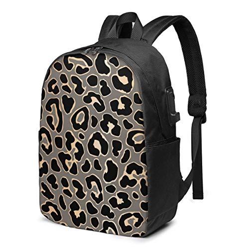 XCNGG Zaino per laptop da viaggio in oro leopardato di lusso Zaino da scuola universitario Zaino casual con porta di ricarica USB