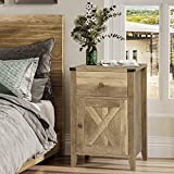 Ittar Farmhouse End Table with Cabinet and Drawer, Nightstand for Bedroom, Side Table for Living Room, Wood Look Accent Table (Rustic Oak)