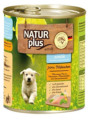Natur Plus Hundefutter JUNIOR mit 70% Huhn - glutenfrei (6 x 800 g)