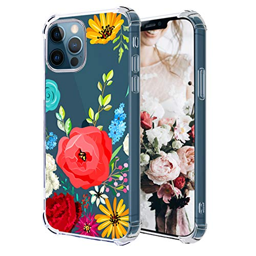Hepix Compatible with Red Poppy Flowers iPhone 12 Pro Clear Case Floral Crystal 12 iPhone Case, Slim Soft Flexible TPU Frame Protective Bumpers Anti-Scratch Shock Absorption for iPhone 12 Pro/12 6.1'