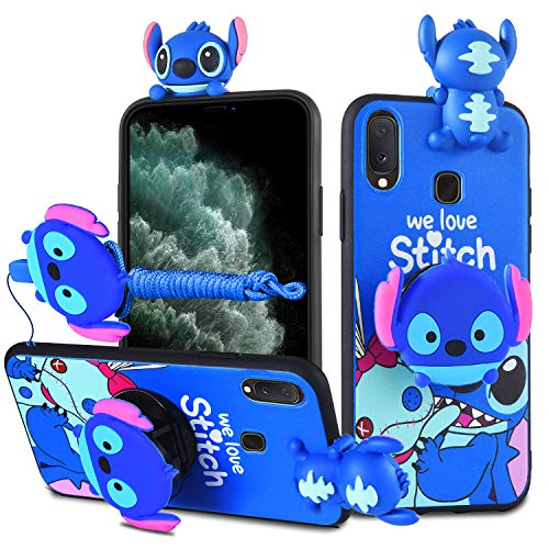 HikerClub Galaxy A10e / A20e Case Stitch 3D Cartoon Case with Pop Out Phone Stand Grip Holder and Detachable Long Lanyard Neck Strap Band Soft Lovely Case for Children Kids Girls (Blue,A10e/A20e)