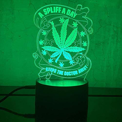 Luz nocturna de hoja de marihuana 3D, lámpara de mesa LED de marihuana de marihuana, luz nocturna, ilusión visual óptica, decoración del hogar, regalos de iluminación para niños