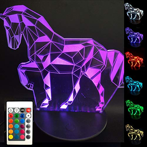 BJYHIYH 3D Horse Lamp Horse Gifts for Girls Boys Kids Remote Control 16 Colors Changing Children Night Light Horse Toys