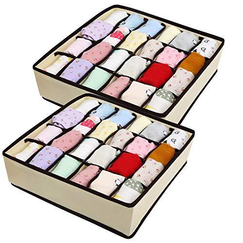 BelleStyle Aufbewahrungsboxen für Unterwäsche, 2 Stück Ordnungsboxen 24 Zellen Faltbare Schubladenunterteilungen zum Aufbewahren von Socken, Schals, Büstenhalter und andere kleine Zubehörteile (Beige)