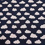 Stoff Meterware Baumwolle Marine blau weiß Wolken neu