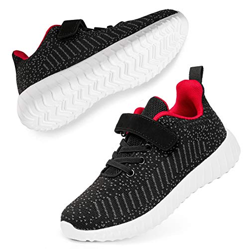 SOBASO Boys Sneakers Kids Girls Boys Athletic Gym Breathable Lightweight Running Shoes Black-Red 10.5 Little Kid
