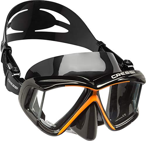 Cressi Panoramic 4 Windows Scuba Dive Mask, with Side View (Black Orange)