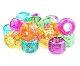 100 Jelly Scintillement Pony Mélange de perles 9 mm x 6 mm