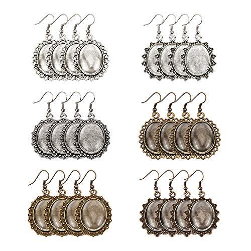 PandaHall 36pcs 6 Orecchini Stile cabochon impostazioni Pendenti castone Vassoio con cabochon in Vetro Trasparente Ovale 40 Pezzi e Ganci per Orecchini in Ottone 40 Pezzi