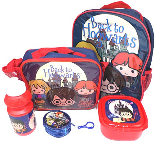 Harry Potter Set De Regalo Mochila + Billetera + Bolsa Aislante + Botella Para Beber + Caja De Almuerzo - Licenciado Oficialmente - Backpack Purse Lunch Bag Sports Bottle Sandwich Box - Gift Bundle