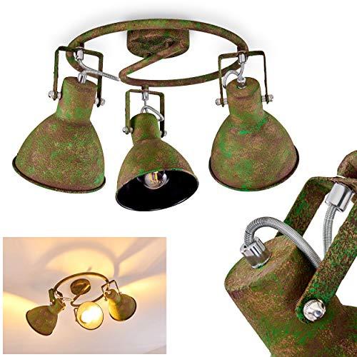 Deckenleuchte Lisele, verstellbare Deckenlampe aus Metall in Rost/Grün, 3-flammig, Lampenschirme dreh- u. schwenkbar, 3 x E27-Fassung, max. 60 Watt, Spot im Retro-Design, LED Leuchtmittel geeignet