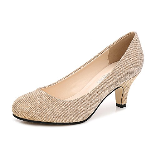 Damen Pumps Rund Kitten Heel Kleid Business Party Gold Glanz Asiatisch 41/ EU 41