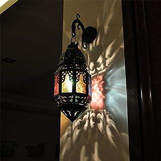 LED Moderna Lámpara de Pared。Viento marroquí lámpara de pared de hierro forjado Marroquí pared lámpara de viento pasillo del hotel sala de estar dormitorio, gran 17.6 * 40CM, estante negro + vitrales