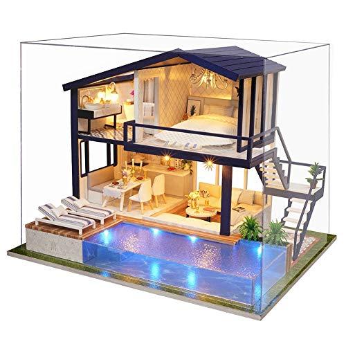 Hakeeta DIY Design Puppenhaus aus Holz, mit Lichtern + privatem Swimmingpool, Miniatur mit Allen Möbeln, Puppenhausvilla, Dekompressionsspiel(mit Schutzumschlag oder Nein)(Mit Schutzumschlag)
