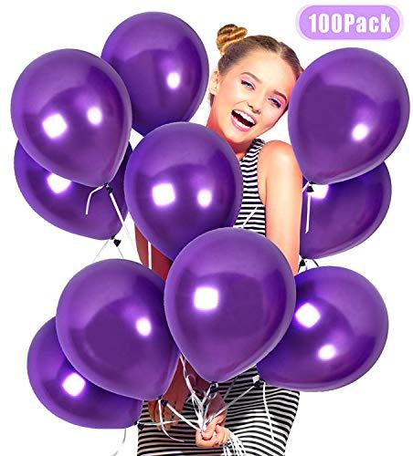 JIASHA 100 Stück Latex Ballon ,Luftballons Hochzeit,Latex Glitter Ballons,Heliumluft Ballons Party Ballons für Hochzeit Geburtstagsparty Babyparty Valentinstag Dekoration (lila)