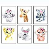 Nursery Wall Decor, Nursery Wall Art, Baby Room Decor, Baby Nursery Decor, Safari Nursery Decor, Animal Nursery Decor, Floral Nursery Decor, Jungle Nursery Decor, Set of 6 Prints 8x10'…