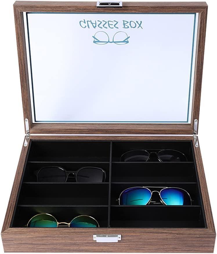 QONBV Wooden 8 Compartments Eyeglass Display Organizer Eyeglasses Sunglass Storage Case Box Transparent Acrylic Cover (Color : B, Size : 35.5X27X8.5CM)