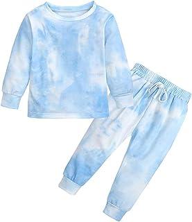 2 قطعة ملابس رياضية للأطفال البنات ذات صبغة ربط من القطن طويل الأكمام مجموعة ملابس رياضية + بنطال رياضي