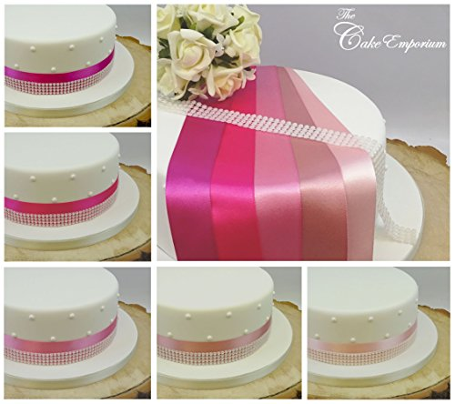 The Cake Emporium Ltd Ruban satiné 1 Metre X 35 mm et 4 Rangs Perle Garniture Décoration de gâteaux gâteau de Mariage Coupez Nuances de Rose Vieux Rose