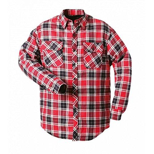 Craftland Ontario Thermohemden Blau | Grau | Rot | Kariert | 100% Baumwolle | Pflegeleicht | Strapazierfähig | Brusttasche Gefüttert Durchgehende Knopfleiste (S, Rot-Kariert)