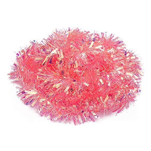 DERAYEE 6 M/19.7FT Christmas Tinsel Pink Tinsel Garland for Christmas Tree Decoration