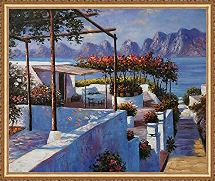 Hand Painted Art Paintings of Mediterranean Sea Scenery Landscape Seaside Beach Oil Painting on Canvas for Cheap Wall Art Decor Discount - 20x24 Inches Gold Foil Wood Frame