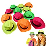German Trendseller® - 12 x Neon Party - Hüte Mix ┃ Gangster ┃ Karneval ┃ Party Knaller ┃...