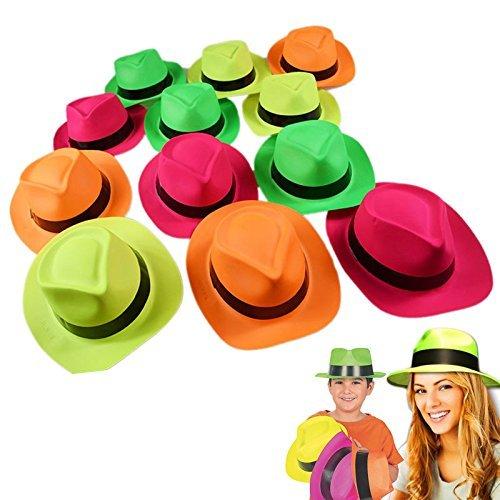 German Trendseller® - 12 x Neon Party - Hüte Mix ┃ Gangster ┃ Karneval ┃ Party Knaller ┃ 12 Stück