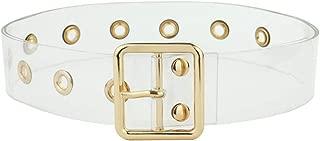 Clear Belt Square Buckle Belts For Women/Men Transparent Gromment Belts