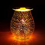 SUNPIN Electric Oil Warmer 3D Effect Fireworks Glass Wax Burner Incense Oil Warmer Night Light Aroma Decorative Lamp for Gifts & Decor for Home Office
