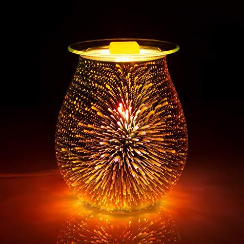 SUNPIN Electric Oil Warmer 3D Effect Fireworks Glass Wax Burner...