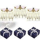 Aleación Queen Bee Hair Side Peines Honey Bee Golden Hair Peines, Peines decorativos, Mujeres Mariquita Suministros para fiestas Esmalte Accesorios para el cabello Disfraz (3pcs)