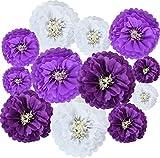 Lavender Purple White Hanging Tissue Paper...