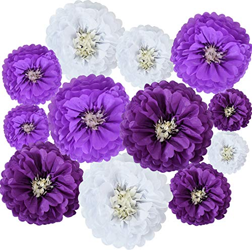 Lavender Purple White Hanging Tissue Paper Flowers Paper Chrysanth Flowers DIY Crafting for Wedding Birthday Baby Shower Backdrop Nursery Wall Party Decoration(12 Packs)