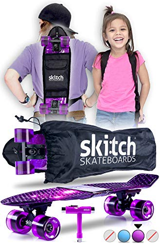 SKITCH Complete Skateboard Gift Set for Beginner Girls Boys and Kids of All Ages with 22 Inch Mini Cruiser Board + All Accessories (Purple Galaxy)