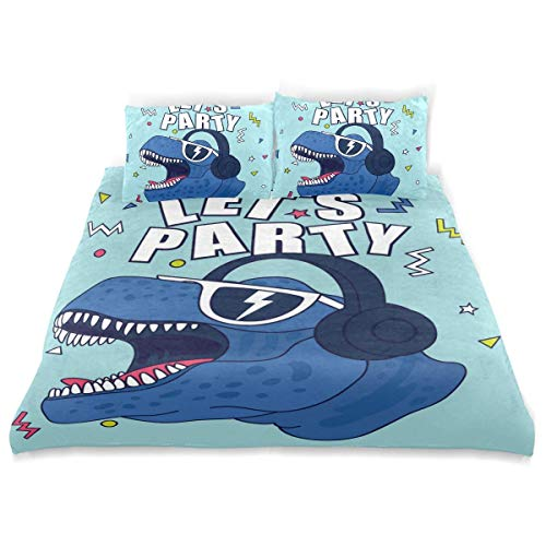 Qoqon Duvet Cover Set Lets Partydinosaur Character Designcute Drawing Tshirt Decorative 3 Piece Bedding Set with 2 Pillow Shams