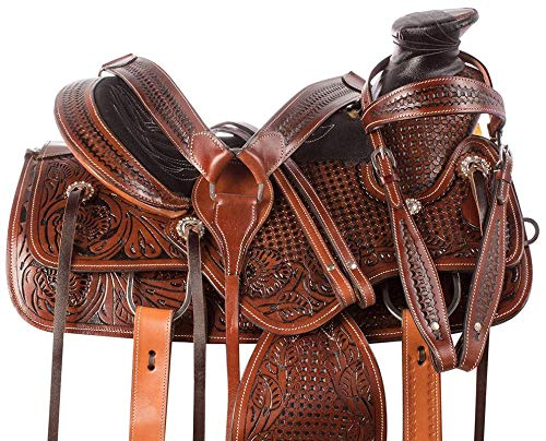 Open Store Wade Tree A Fork Premium Western Leather Roping Ranch Work Horse Saddle TACK Headstall, Breastplate(Size- 14 to 18 Inches Seat Available)