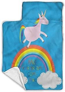 Stars Toddler Nap Mat-Includes Pillow & Fleece Blanket-Soft Microfiber Children Sleeping Bag-Moon Clouds Stars Night-Soft, Lightweight,Ages 2-4 Years