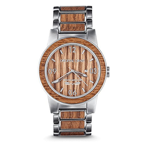 Original Grain Wood Wrist Watch | Brewmaster Collection 42MM Analog Watch | Wood and Stainless Steel Watch Band | Japanese Quartz Movement | German Oak Beer Barrel Wood