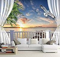 現代の壁の芸術のためのカスタム3D写真の壁紙サンセットビーチの外のリビングルームのバルコニー風景の壁紙3D壁紙-350x250cm