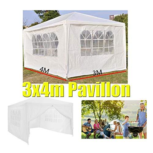 Huini 3x4m Pavillon Festzelt Partyzelt Einfache Installation Family Garden BBQ Hochzeit Pavillon mit 4 Seitenwände - Weiß