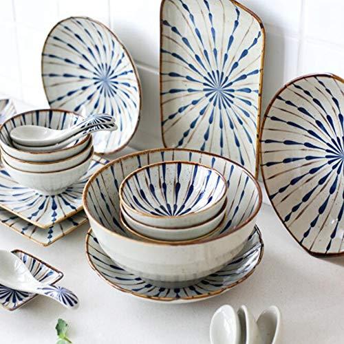 WPJ Juegos de Cuencos de Porcelana para Cereales Combinación de Plato y Cuenco Cerámica Exquisita para Platos Japoneses Vajilla de Regalo para el Hogar (Color : 9 Piece Set)