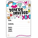 Fun Girl Doodles Invitations (20 Count) with Envelopes - Pre Teen - Tween Birthday Invitations